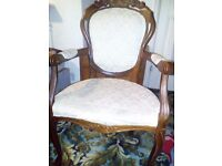 set of 6 vintage antique dining chairs Fabric wooden