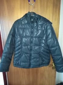 Black ladies jacket with hood size 16( small fitting) never worn