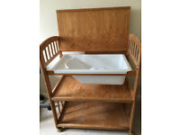 Wooden changing table with bath