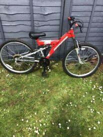"Boys mountain bike for sale scorpion ridge with mr suspension v breaks 18 gears good tyres 24"""