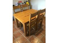 Oak Small Extending Table + 4 Oak Chairs