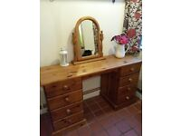 Pine dressing table with drawers and freestanding mirror
