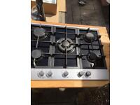 Gas hob Black glass and brushed stainless steel