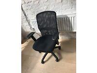 2 x black swivel office chairs