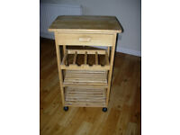 wooden kitchen hostess trolley with drawer