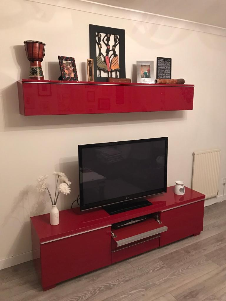 Ikea Besta Tv Bench Unit And Storage Wall
