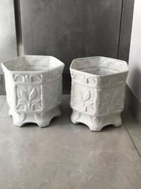 Indoor white hexagonal plant pots