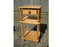 Pine bedside table with drawer, good condition