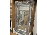 Stunning large opulent twin framed platinum silver leaner mirror