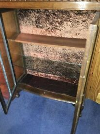 Two Wooden Glass Vintage Cabinets