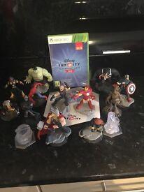 Xbox 360 Disney infinity game, portal and 12 marvel figures.