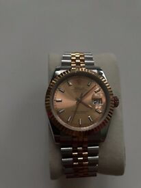 Automatic Rose Gold And Steel Rolex Date Just
