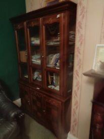 large display cabinet mahogany colour hardwood glass good condition shelves bookshelves 122cm width