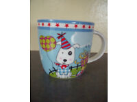 ** NEW ** G Wurm & Co KG cute, ceramic, multi-coloured party dog mug - plain white inside.