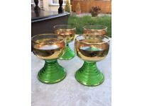 Set of 4 green and gold vintage glasses