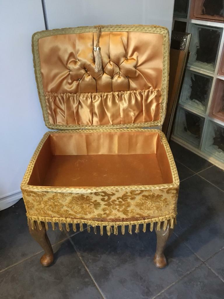 Vintage queen ann style sewing box stool