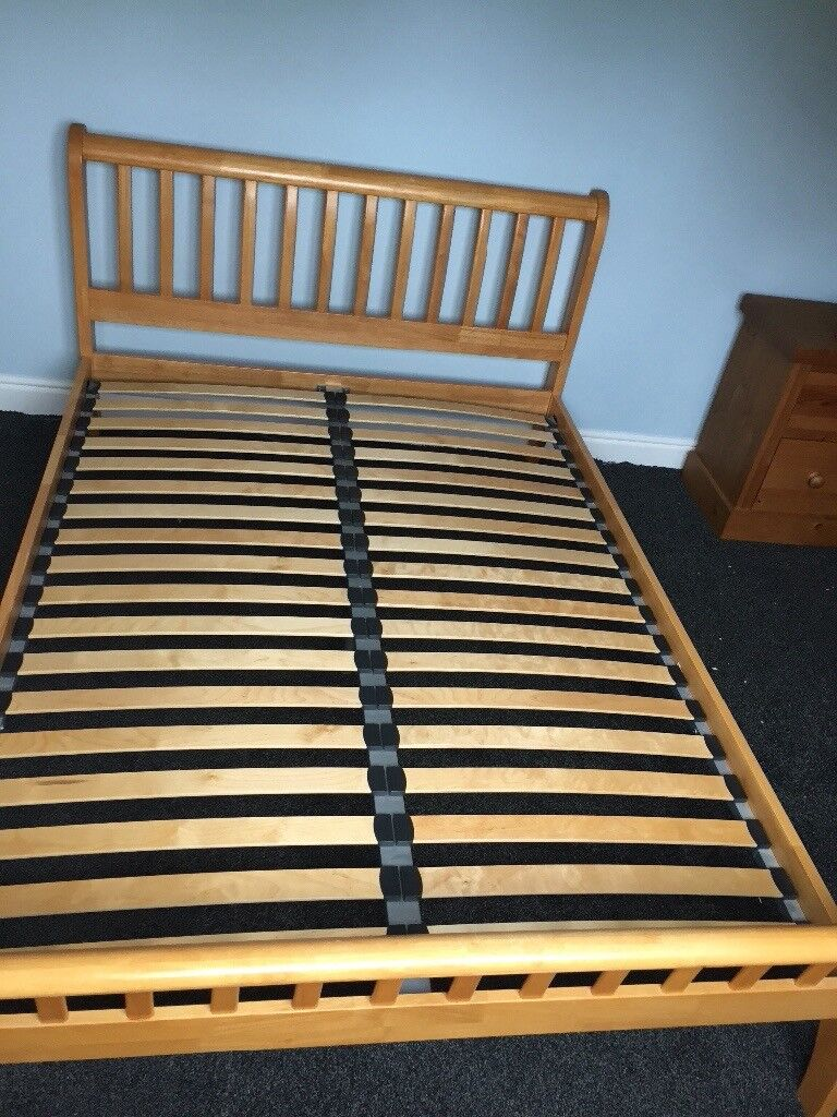 Wooden sleigh double bed frame
