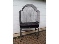 Bird cage with stand on wheels. Suitable single African gray or similar, or two smaller type birds.