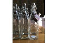 9x Kilner 1 Litre Glass Bottles