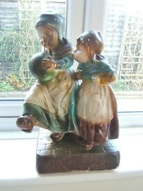CHALK FIGURINE. Two little Dutch girls with balloon. Probably from the 1920s