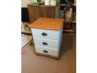 One bedside table (with three drawers)