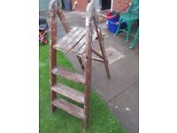 VINTAGE, PAINT SPLATTERED, 4 TREAD WOODEN STEP LADDERS