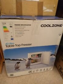 Coolzone, 40L Table top freezer. Clean and perfect working order in original box.
