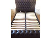Brown Faux leather Chesterfield style style bed frame.