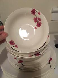 White with flower detail plates.