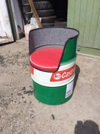 Castrol oil drum chairs, garden, man cave