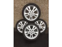 Set of 4 R17 alloy wheels fitted with winter tyres - ideal for Honda Civic