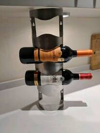 4 Bottle Wine Rack, Stainless Steel 45 x 11 x 10cm