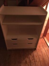 White Wooden shelving/drawers