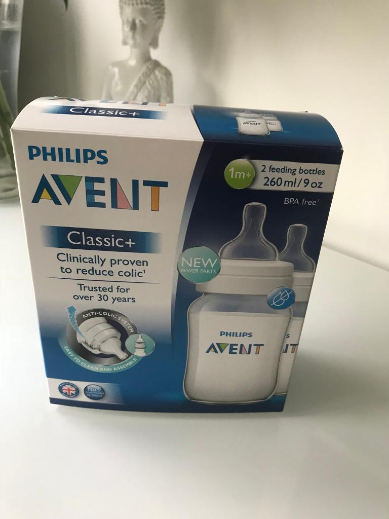Avent brand new 1 mth + anti colic bottles £7
