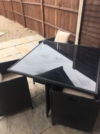 Rattan 5 piece garden cube table black good condition with cushions