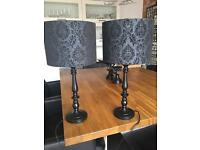 Pair of Black Table Lamps
