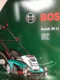 Bosch cordless lawnmower 36Li brand new in the box un opened.