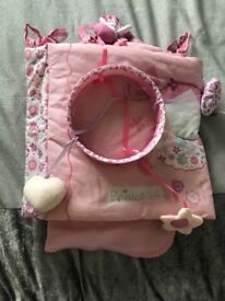 Pink cot bedding plus matching cot mobile