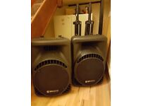 """ACTIVE SPEAKERS or Monitor QTX 12"""" 600W and Stands (2)"""