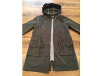 Mint Velvet Lightweight Parka Style Khaki Jacket with Hood & Drawstring Waist Size 8 Brand New