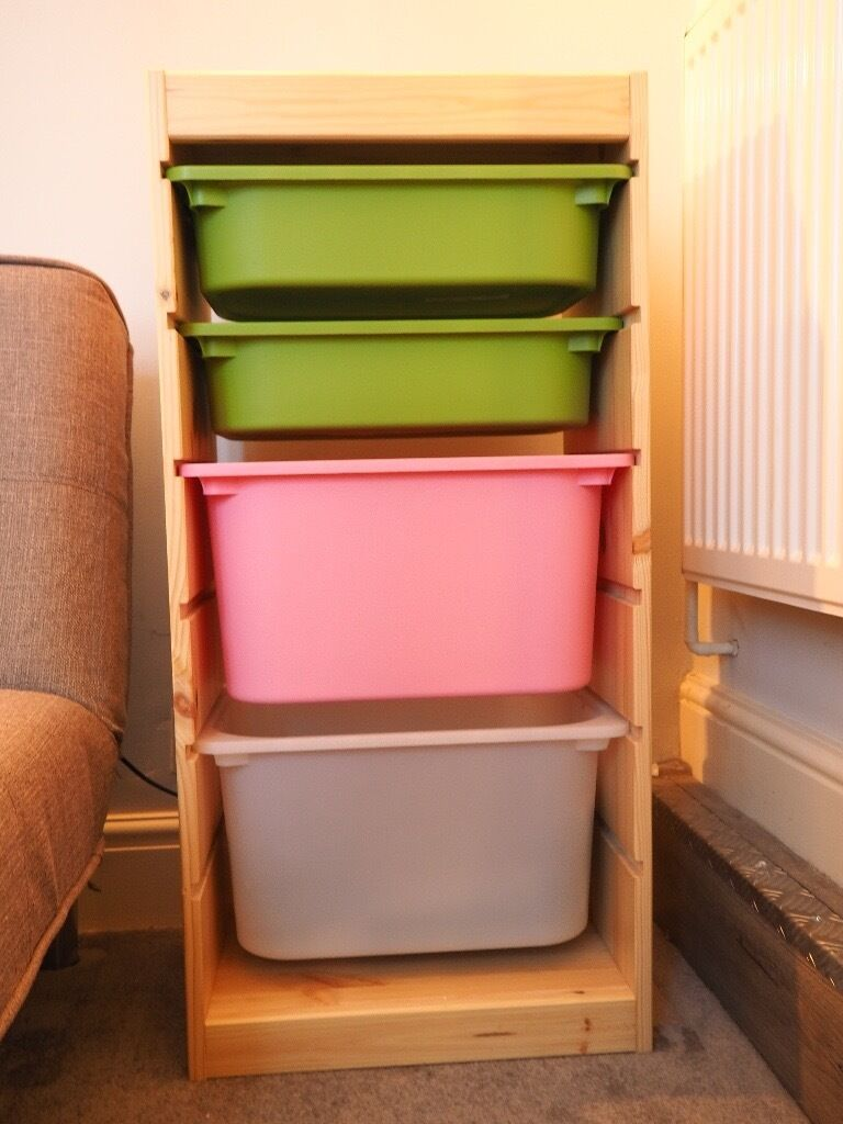 New Bookcase Toy Box White Finish Bedroom Playroom Child: Ikea TROFAST Storage Combination, Pine, Pink, White And