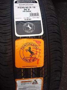 SET OF TWO. NOT FOUR BRAND NEW WITH LABELS CONTINENTAL ULTRA HIGH PERFORMANCE ' V ' RATED 235 / 45 / 19 ALLSEASON TIRES.
