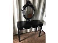 Black Hall Table / dressing table & mirror