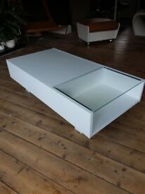 Habitat low coffee table. Painted white. Needs bit of TLC