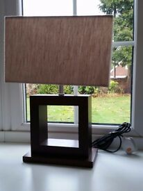 Pair of cream and walnut lamps