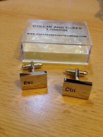 COLLAR AND CUFFS LONDON - Ctrl Esc Computer Keyboard cufflinks (NEW (unused))