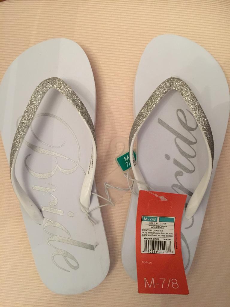 c6a67ae2b756 New - Bride bridal wedding flip flops - silver glitter   white