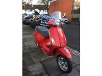 2014 Vespa Primavera 125cc Red 3v Scooter - Learner Legal £1899