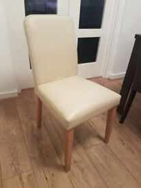 Cream Faux Leather Chairs With Oak Legs (3 available)