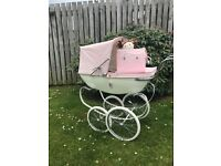 Limited addition silver cross dolls pram with mattress, bag and silver cross upside down dolly